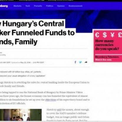 Bloomberg az MNB-ügyről: Mindez túlmegy a családi kapitalizmuson