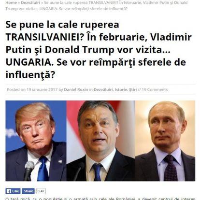 Nagyot megy a román Facebookon, hogy Putyin és Trump Orbánnak adja Erdélyt