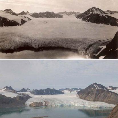 Megdöbbentő fotók a Spitzbergák gleccsereinek zsugorodásáról