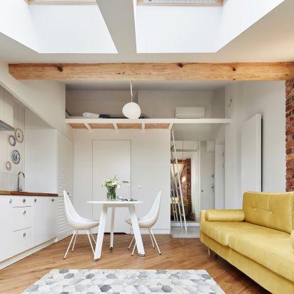 Tetőtéri garzon, belsőépítésszel