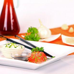 Szójaszószos, szakés grillezett tengeri halfilé