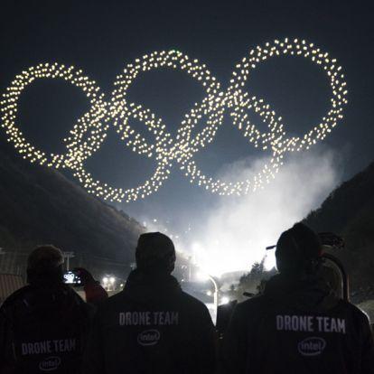 Sokszáz drón fényes tánca a téli olimpia megnyitóján