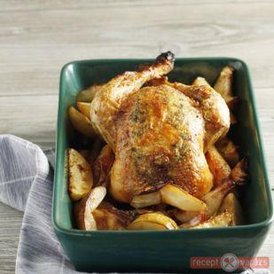 Sült csirke kakukkfűvel, körtével - kipróbált sült csirke receptek képpel - Receptvarázs – receptek képekkel