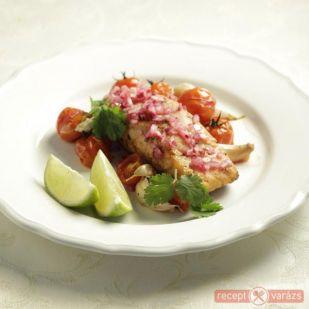 Lazac recept limeos csilis salátával - Kipróbált, fényképes lazac receptek, gyors és egészséges hal receptek - Receptvarázs – receptek képekkel