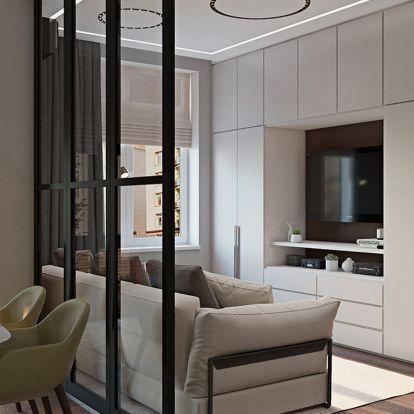 Minden fontos funkció, amire egy fiatal férfinak szüksége volt új, 45m2-es lakásában - térszervezés, modern berendezés