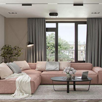 Lágy, divatos színek - púder, rózsaszín - és markáns, modern elemek, szürke, fekete harmonikus egyensúlyával berendezett 69m2-es lakás
