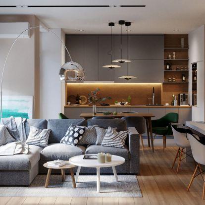 Modern, természetes lakberendezés fiatalok új kétszobás, 72m2-es lakásában - nagy gardrób-, kényelmes fürdőszoba