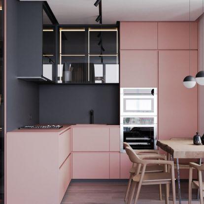 Látványos példa egy lakásban szürke és kellemes rózsaszín párosítására - stílusos és egyedi kombinációk minden helyiségben