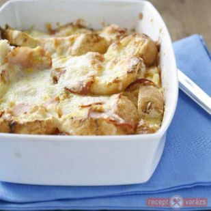 Sonkás-sajtos sült baguette recept - tepsis receptek, tepsis hús és krumpli - Receptvarázs – receptek képekkel