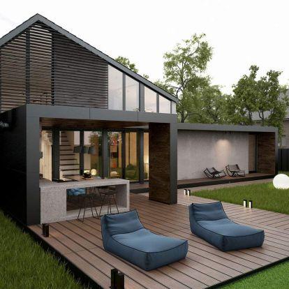 Modern családi ház kényelmes terasszal, fedett kültéri konyhával - fűvel borított eltolható medence borítás, könnyed lakberendezés