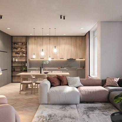Fiatal hölgy lakása modern színekkel és világítással, természetes anyagokkal, minimál és skandináv stílusjegyekkel