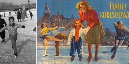 Korcsolyával a Városligetben a második világháború után