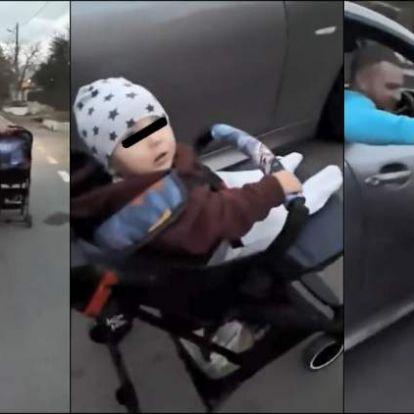 Hajmeresztő! Autóval tolta a babakocsit egy apuka!