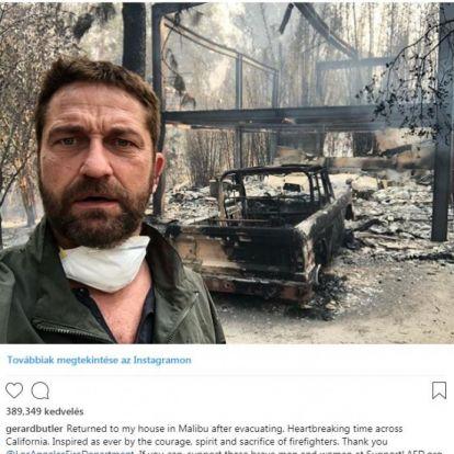 Drámai kép: leégett háza előtt fotózta magát Gerard Butler