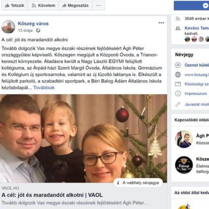 Beszarás: Kőszeg hivatalos Facebook-oldala nem a város, hanem a fideszes Ágh Péter karrierjét építi