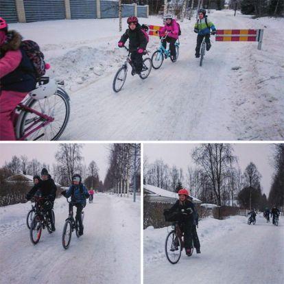 Finnországban a gyerekek -17 fokban és derékig érő hóban is bringával járnak iskolába
