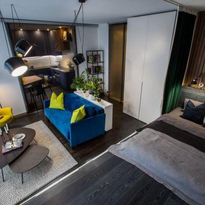 Kis lakás berendezése fiatal egyetemista párnak - nappali és konyha 28m2-es területét kellett praktikusan és kényelmesen kialakítani