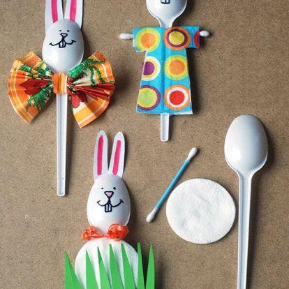Húsvéti dekor műanyag kanálból