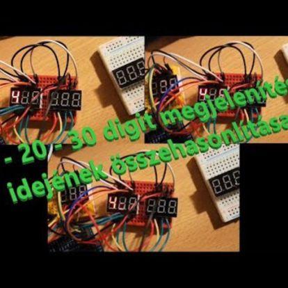 7 szegmenses led kijelző arduinóval - 10-20-30 digit összehasonlítás