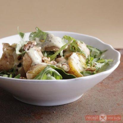 Rukkolás krumplisaláta pirított dióval recept - Saláta receptek - Receptvarázs – receptek képekkel