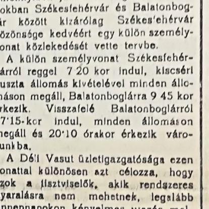 Külön fürdővonattal Fehérvárról Balatonra? Még szép!
