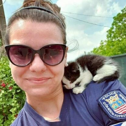 Versben mondták el: egy autó motorteréből mentett cicát a rendőrlány