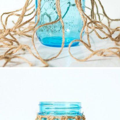 Mécsestartó, dekor fillérekből. Makramé csomózással díszített befőttes üveg