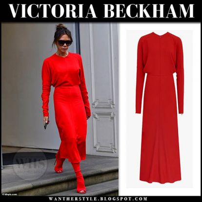 Victoria Beckham in red midi dress and red boots in London on September 5