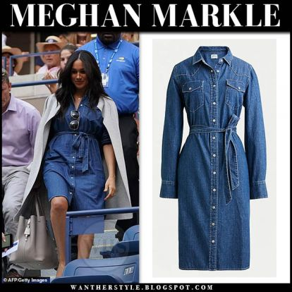 Meghan Markle in denim shirtdress and grey cardigan at US Open Women's Final 2019