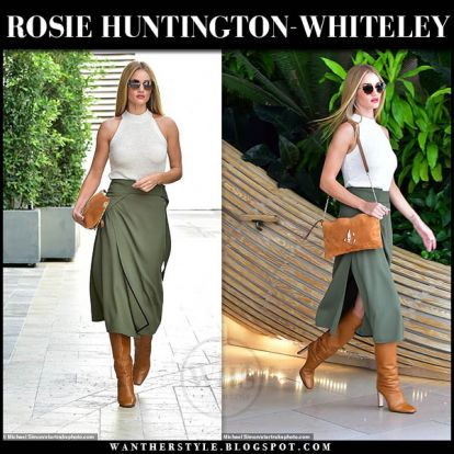 Rosie Huntington-Whiteley in beige halter top, khaki green midi skirt and brown boots in LA on September 12