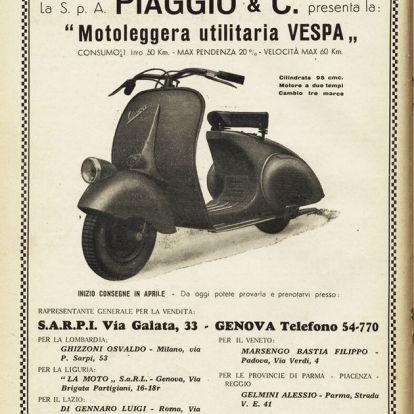 A hadiipari korlátozásokból született az ikonikus olasz robogó, a Vespa