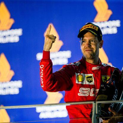 Megható Vettel reakciója, miután 392 nap után ismét futamot nyert
