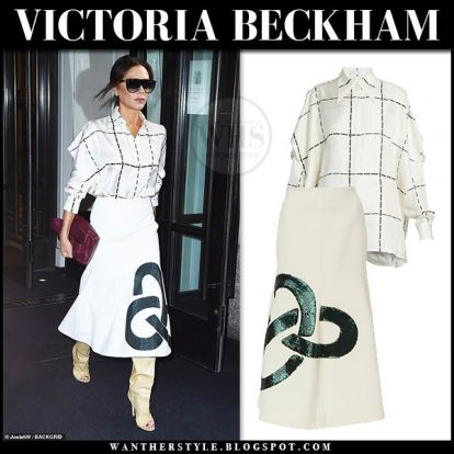 Victoria Beckham in white check shirt and white midi skirt in NYC on October 18