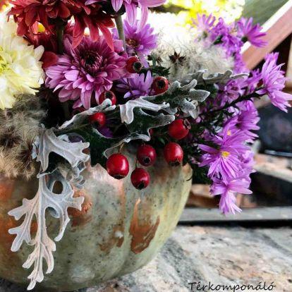 Sütőtök váza kintre, bentre az ősz színeivel