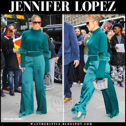 Jennifer Lopez in green knit sweater and green satin pants in NYC on November 11