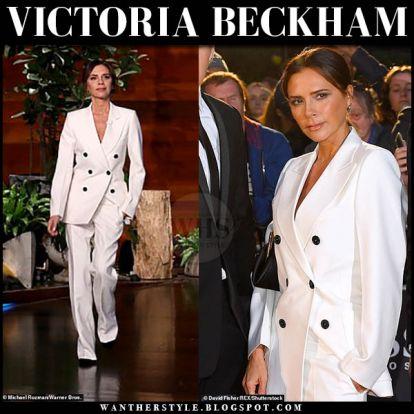 Victoria Beckham in white suit on Ellen DeGeneres show on November 25