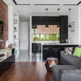 Friss, modern stílus, eredeti és kényelmes berendezés 74m2-en fényes, természetes felületekkel