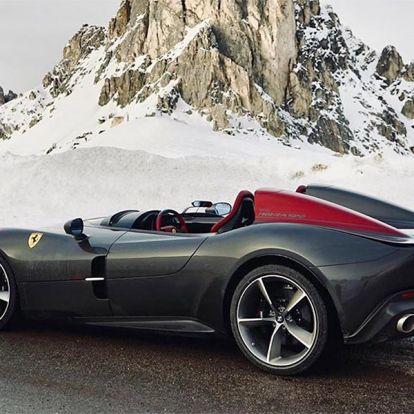 Hősünk a havas hegyi utakra vitte a tető nélküli Ferrariját
