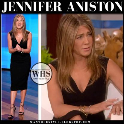 Jennifer Aniston in black v-neck dress hosting Ellen show