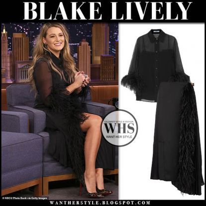 Blake Lively in black feather trimmed blouse and black skirt on The Tonight Show with Jimmy Fallon