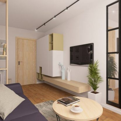 Babaágynak kellett helyet találni fiatalok 45m2-es, modern stílusban berendezett lakásában