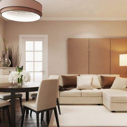Kész lakberendezés és látványterv összehasonlítása: 46m2-es lakás bézs, szürke, fehér színekkel, természetes anyagokkal