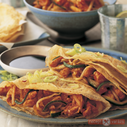 Édes-savanyú csirkehúsos palacsinta - Húsos palacsinta receptek - Receptvarázs – receptek képekkel
