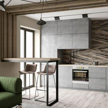 Kis legénylakás – férfi 35m2-es új otthona modern berendezéssel, többféle fa textúrával