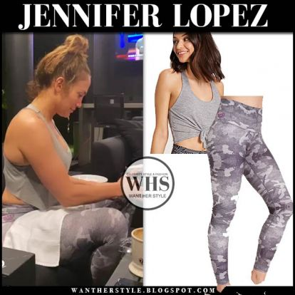 Jennifer Lopez in grey top and grey leggings on March 30