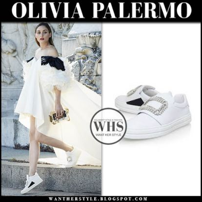 Olivia Palermo in white embellished sneakers and white gown on May 8
