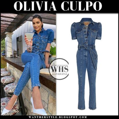 Olivia Culpo in denim jumpsuit on May 13