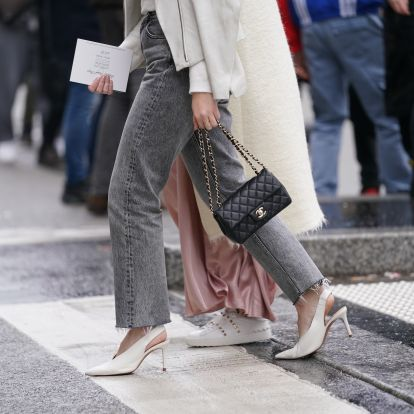 How To Style Gray Jeans, The Rosie Huntington-Whiteley-Approved Trend I'm Loving For Fall