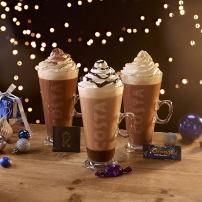 Costa just revealed its Christmas drinks menu, including a Quality Street Purple One Latte