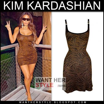 Kim Kardashian in brown tiger print mini dress on November 18